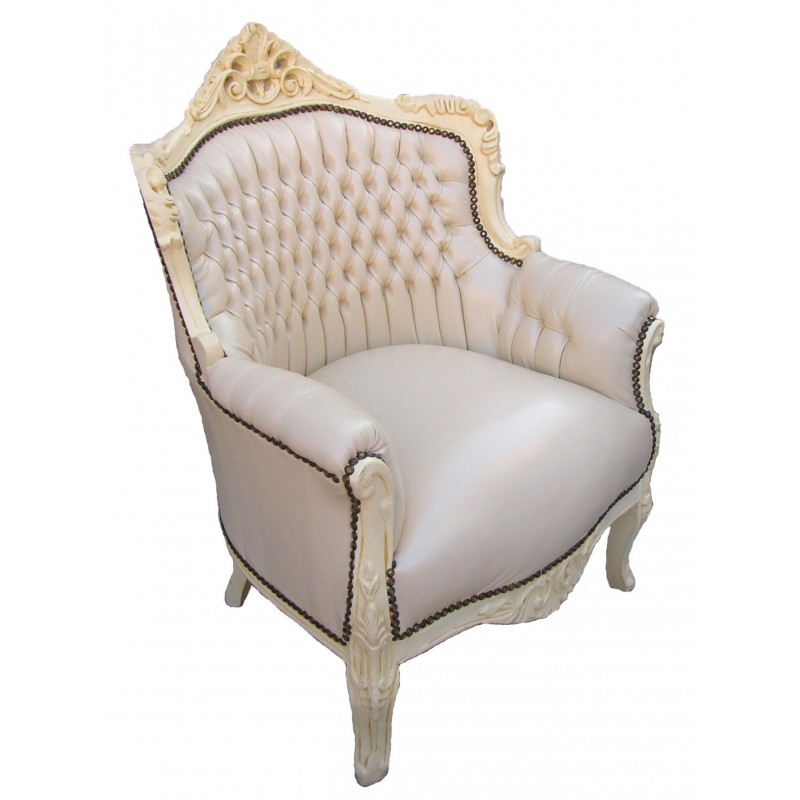fauteuil princier de style baroque simili cuir beige et bois beige. Black Bedroom Furniture Sets. Home Design Ideas