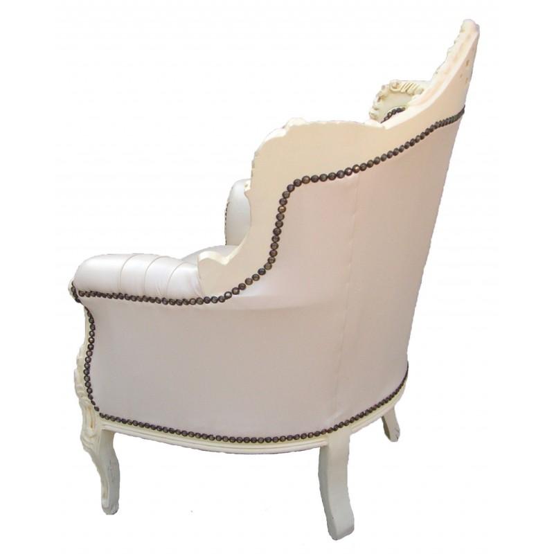 fauteuil princier de style baroque simili cuir beige et bois beige. Black Bedroom Furniture Sets. Home Design Ideas