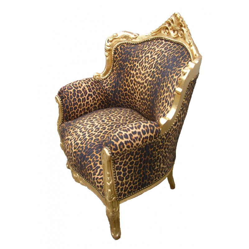 fauteuil princier de style baroque tissu l opard et bois. Black Bedroom Furniture Sets. Home Design Ideas