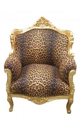 "Armchair ""princely"" Baroque style leopard fabric and gold wood"