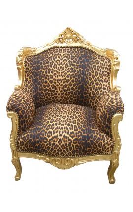 """Fauteuil """"princier"""" de style Baroque tissu léopard et bois doré"""