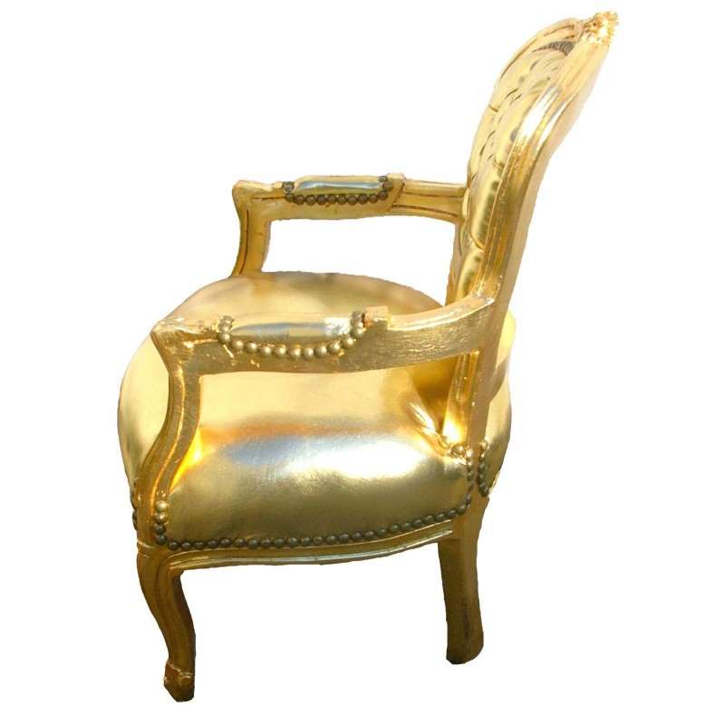 Baroque armchair for child gold false skin leather and ...