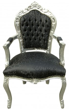Baroque Rococo Armchair style black satine fabric and silvered wood