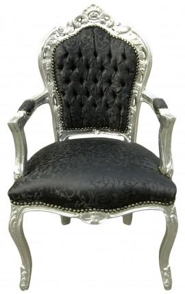 Fauteuil de style Baroque Rococo tissu satiné noir et bois argenté
