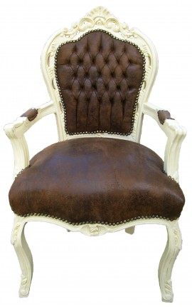 Armchair Baroque Rococo style chocolate suede fabric and beige wood