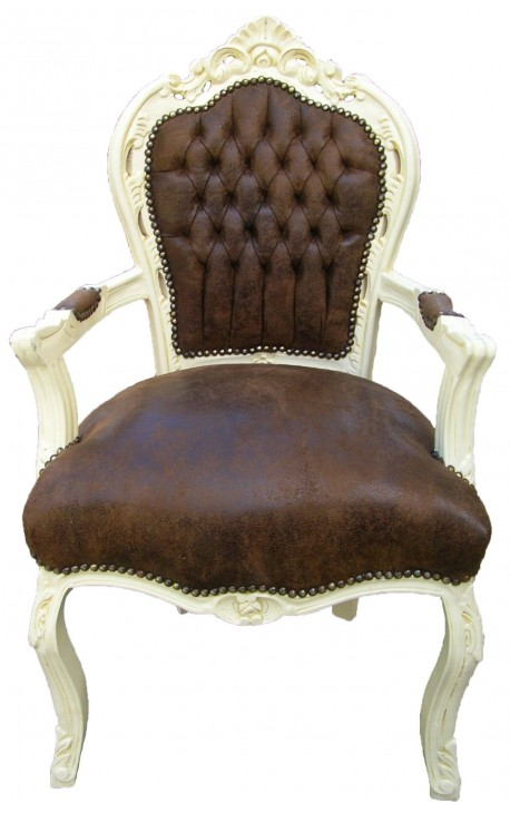 Fauteuil de style Baroque Rococo tissu chocolat et bois beige