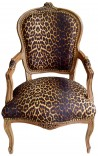 Baroque armchair of Louis XV style leopard fabric and natural wood color