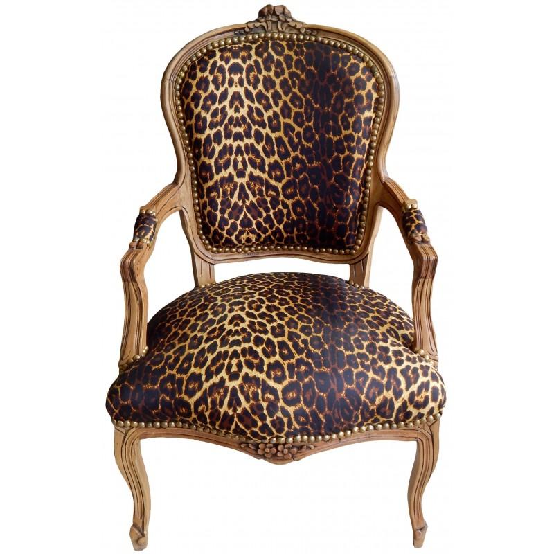 Fauteuil De Style Louis Xv Tissu Leopard Et Bois Naturel