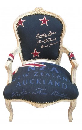 Baroque armchair of Louis XV style New Zealand flag and beige lacquer with old patina aspect