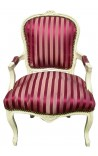 Baroque armchair of Louis XV style blue stripes and beige lacquered wood