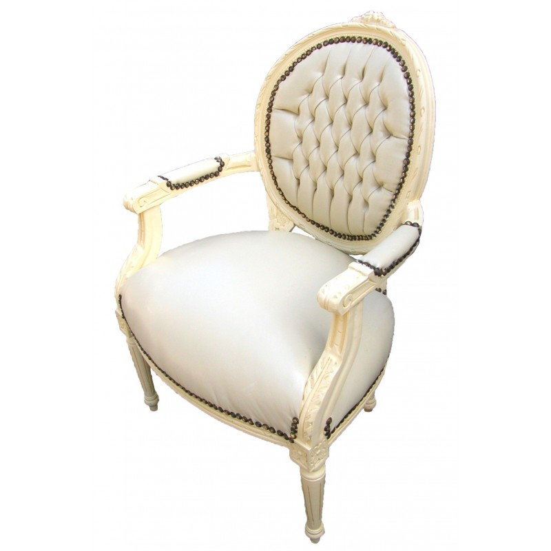 Baroque Armchair Louis Xvi Beige Faux Leather And Beige Wood