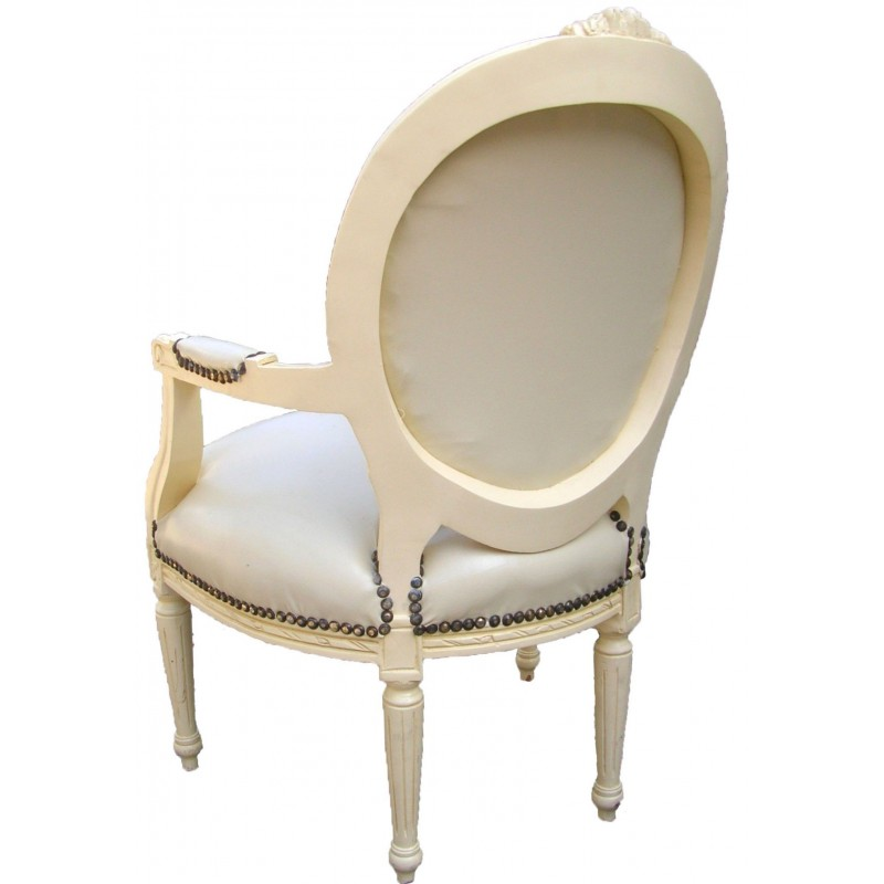 fauteuil baroque de style louis xvi simili cuir beige et bois beige. Black Bedroom Furniture Sets. Home Design Ideas