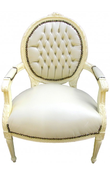 Baroque armchair Louis XVI style medallion in false beige leather skin and beige lacquered wood