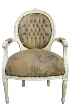 Baroque armchair Louis XVI style light chocolate false leather and lacquered wood beige