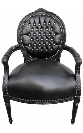 Baroque armchair Louis XVI black leatherette with rhinestones and black wood