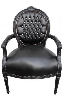 Fauteuil Louis XVI de style baroque simili cuir noir avec strass et bois noir