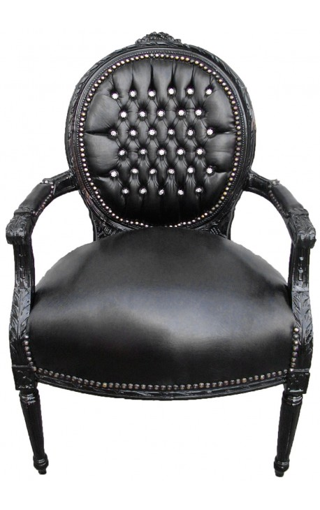Baroque armchair Louis XVI style medallion black faux leather with rhinestones and black lacquered wood