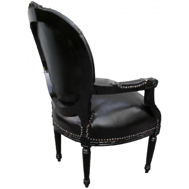 fauteuil baroque louis xvi simili cuir noir avec strass et bois noir. Black Bedroom Furniture Sets. Home Design Ideas