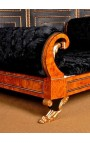 Empire style bed black velvet fabric and elm