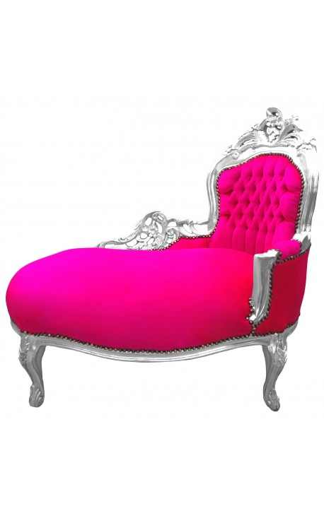 Baroque chaise longue fuchsia velvet with silver wood