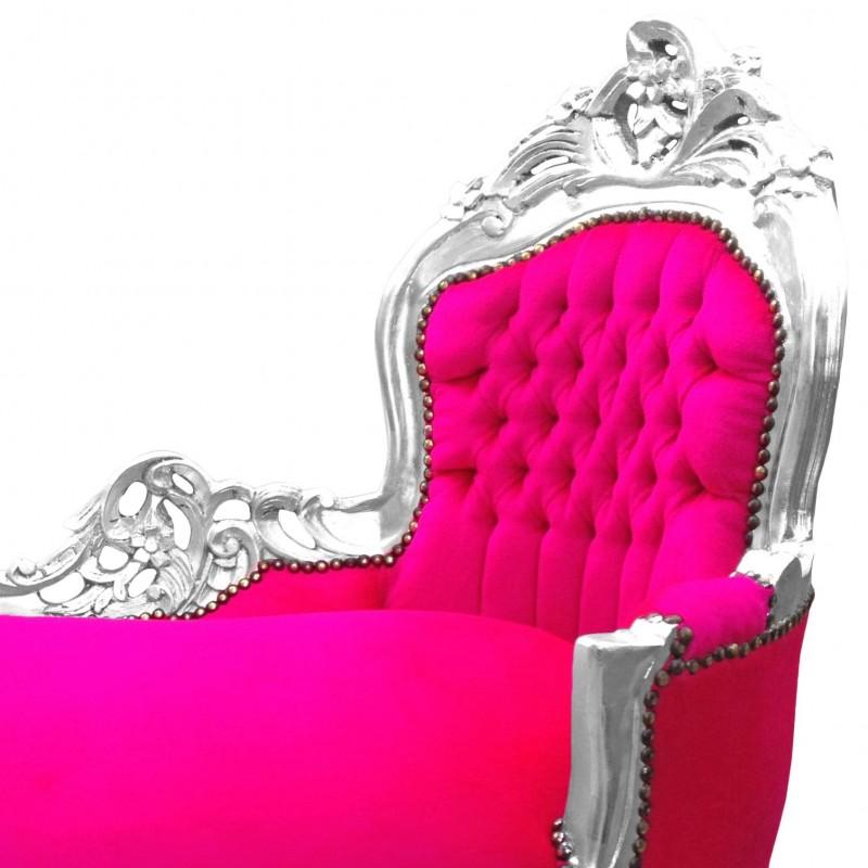 m ridienne baroque tissu velours fuchsia et bois argent. Black Bedroom Furniture Sets. Home Design Ideas