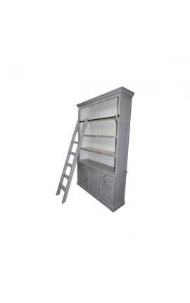 Bookcase gray drawers and doors with ladder French Country style