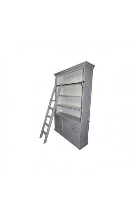 Bibliothèque grise à tiroirs et portes avec échelle style Campagne chic