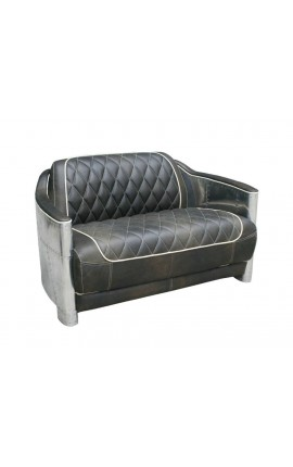 Design 2 seaters sofa in brown leather with stainless steel sheet structure as aviation.