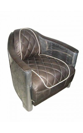 Design armchair in brown leather with stainless steel sheet structure as aviation.