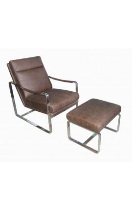 Ensemble fauteuil et repose pieds design en inox et cuir marron