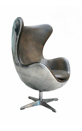 Egg shaped chair brown leather and stainless steel legs