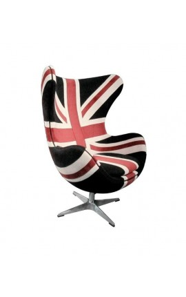 "Egg shaped chair ""Union Jack"" and stainless steel legs"