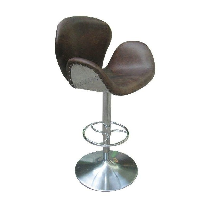 Ensemble bar et 4 fauteuils de bar design en cuir avec tole aviation inox - Fauteuil de bar design ...