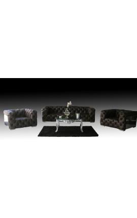 Ensemble grand canapé et 2 fauteuils design Chesterfield et tole aviation inox