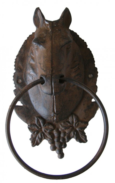 Porte serviette ou torchon, tête de cheval en fonte de fer