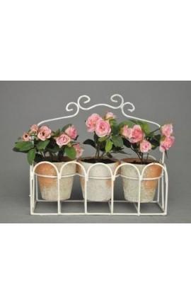 Jardinière décorative en fer forgé avec petits rosiers