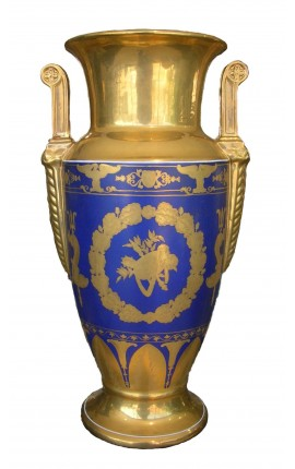 Glazed porcelain baluster vase blue Empire style