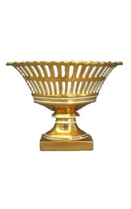 Grande coupe navette à fruits de style empire en porcelaine dorée