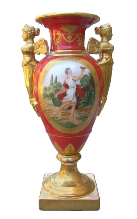 Glazed Porcelain Baluster Vase Orange Empire Style