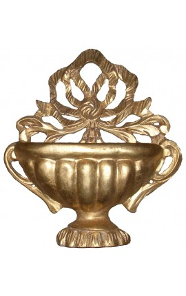 Wall basket-shaped Louis XVI style with bow, gilded wood
