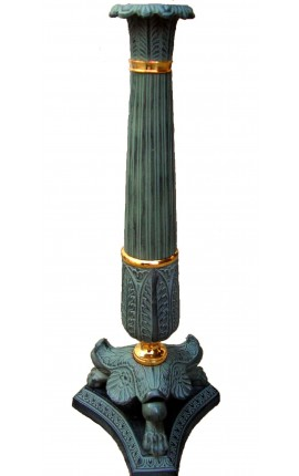 Grand Empire style candlestick patinated bronze