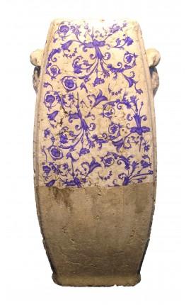 Urne verticale en terre cuite émaillée avec motifs de volutes