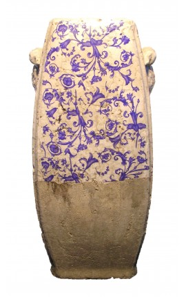 Vertical terracotta urn painted with motifs of scrolls