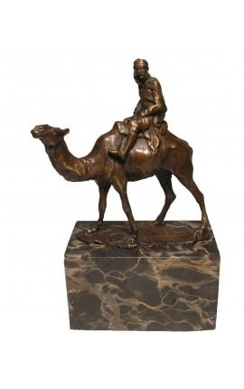 """Sculpture en bronze et socle en marbre, """"Touareg"""""""