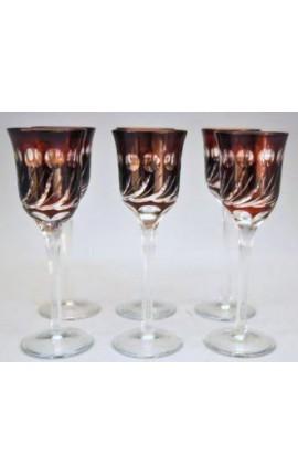 Ensemble de 6 verres rouges à liqueur à pieds avec motifs géometrique