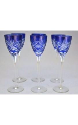 Ensemble de 6 verres bleus à liqueur avec motifs floraux