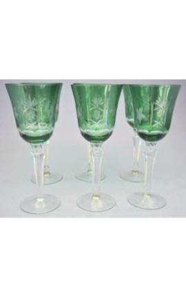 Ensemble de 6 verres verts à pieds avec motifs floraux