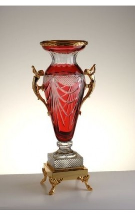 "Large vase red crystal vase doubled and bronze ""Pompeia"""