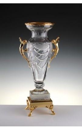 """Grand vase en cristal transparent et en bronze """"Pompeia"""""""