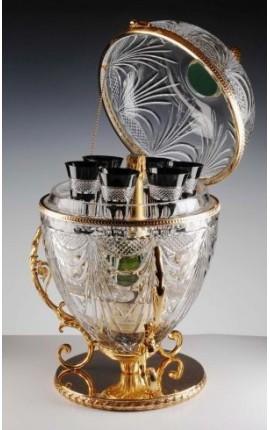 Погреба шампанского кристалл яйцо с 6 черный кристалл флейт